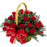 Twenty Red Roses in a Basket