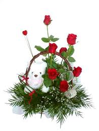Eight Red Roses & Teady Bear in same Basket