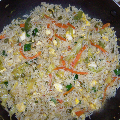 Fried Rice with Vegetable & Egg (R Serves 2 -3)