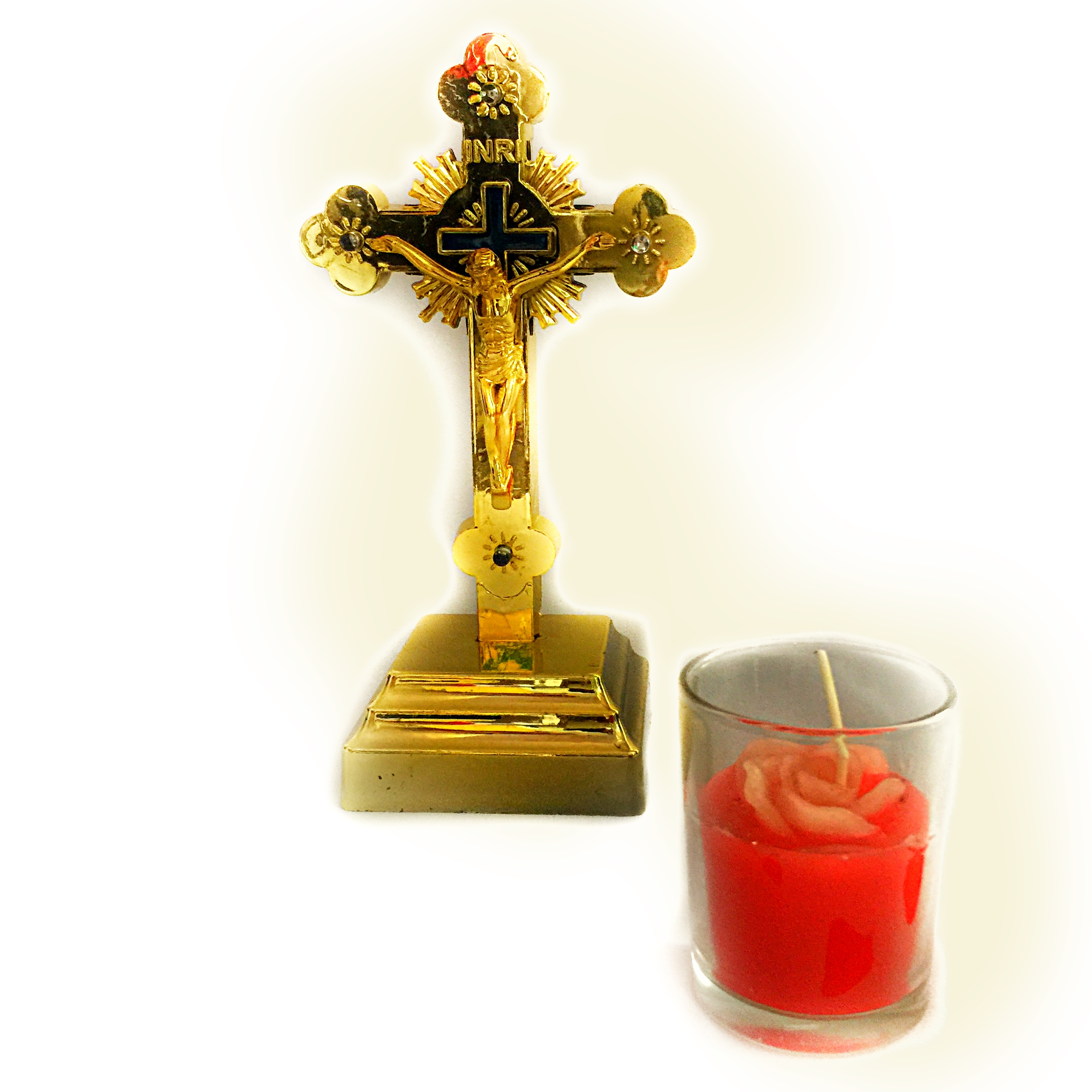 Golden Cross with Candle