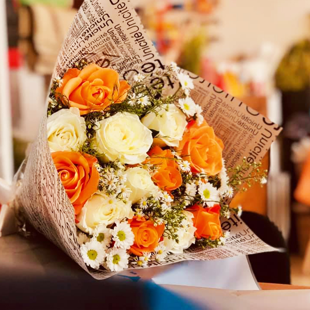 Orange and White Rose Bunch