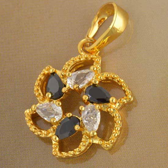 9K Solid Gold Filled Black & Clear CZ Flower Pendant
