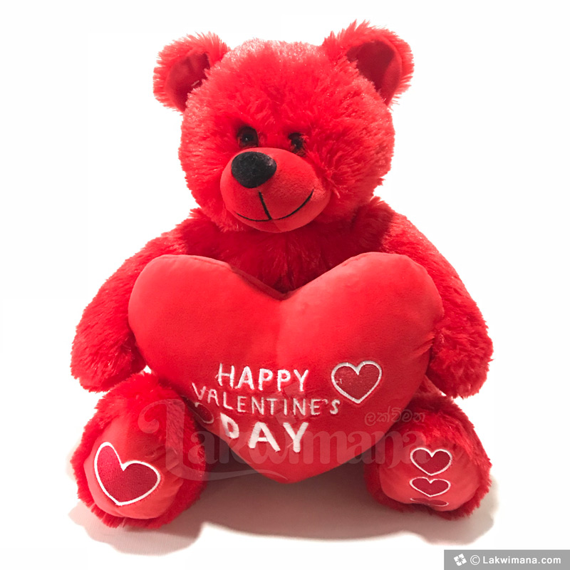 Red Happy Valentines Day Teddy Bear Send To Sri Lanka Lakwimana