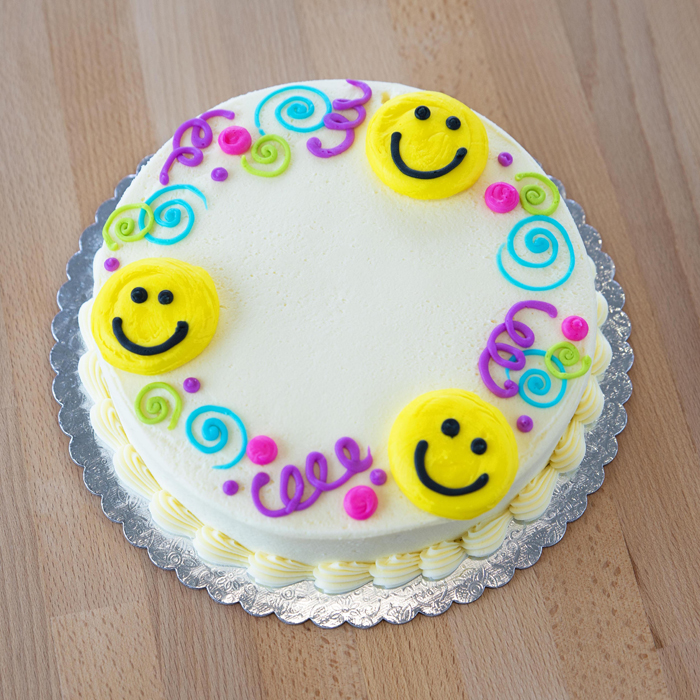 Smiley Faces & Swirls Cake