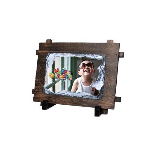 Rock Photo Slate With Wood Frame send to loved ones Sri Lanka, Lakwimana