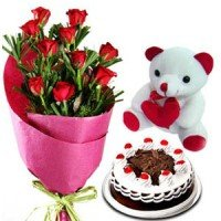 10 Red Roses, Chocolate cake with a cute bear