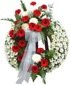 Red & White Funeral Wreath