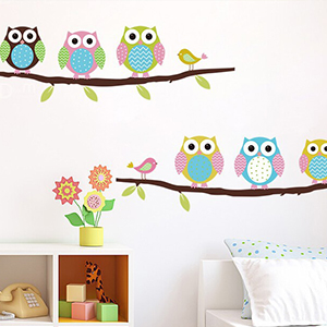 cartoon owl DIY Vinyl Wall Stickers For Kids Rooms