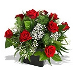 Ten Red Roses in a Square Vase