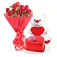 10 Red Roses, Heart cake with a cute bear