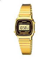 Casio D124 Vintage Series Black And Gold Metal Digital Watch