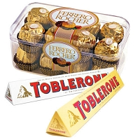 Ferrero Rocher and Two Toblerone Chocolates