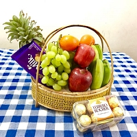 Fresh Fruit Gift Basket For Chocolates Lover