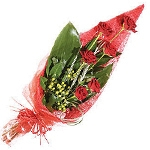 Gloss Wrapped 6 Red Roses Bunch