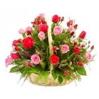 10 Red Roses & 10 Pink Roses in a Basket