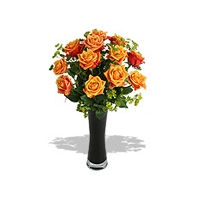 Twelve orange Roses in Glass Vase
