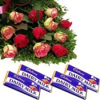 12 Mix Roses with Cadbury Chocolates