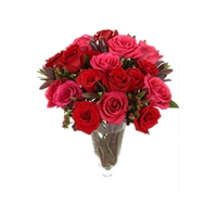 18 Red Roses in a Glass Vase