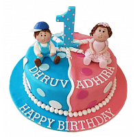 1st year Birthday Cake for Twin Boy & Girl - 1.5Kg
