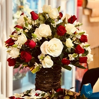 50 White and Red Roses Basket