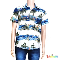 Men Casual Blue Island Shirt
