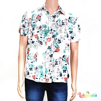 Men Casual White Floral Shirt