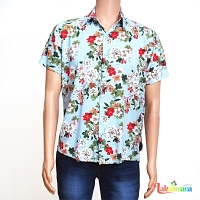 Men Casual Light Blue Floral Shirt