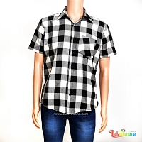 Mens Casual Black Check Shirt