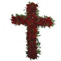 Cross Shape Funeral Wreath - Red
