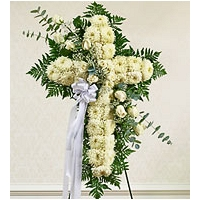 Cross Shape Funeral Wreath - White 02