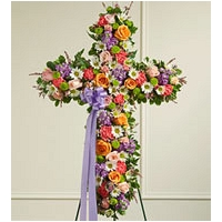 Cross Shape Funeral Wreath - Mix colours