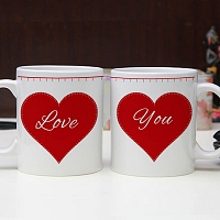 Love You Printed Couple Mugs