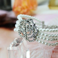 Princess exquisite cutout full rhinestone rose pearl Bracelet Je