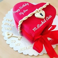 Beautiful Red Heart Birthday cake