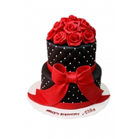 Black and Red Roses Cake