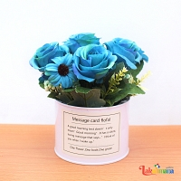 Bluish Bloom Flower Basket