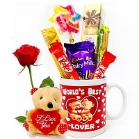 Choco Mug with Single red rose and cute teddy
