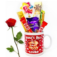 Choco Mug with Single red rose