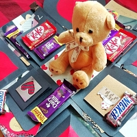 Chocolate explosion box with teddy