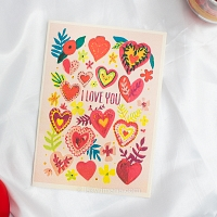 Colourful Hearts Valentine Card