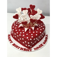 Customize Red Hearts Cake