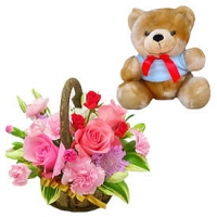 Teddy with 12 mix flowers basket