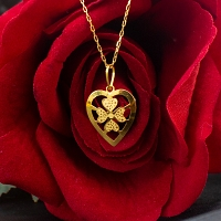 Flower Heart Gold Pendant