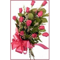 Gift Wrapped 12 Pink Roses Bunch