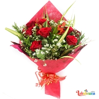 Gift Wrapped Ten Red Roses