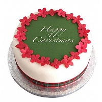 Green Happy Christmas Cake - 1Kg