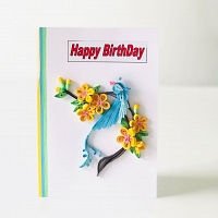 Handmade Happy Birthday Flower Card