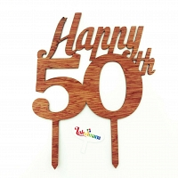 Happy 50th Wooden Cake Topper