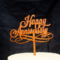 Happy Anniversary Wooden Cake Topper