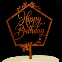 Happy Birthday Pentagon Shape Wooden Cake Topper